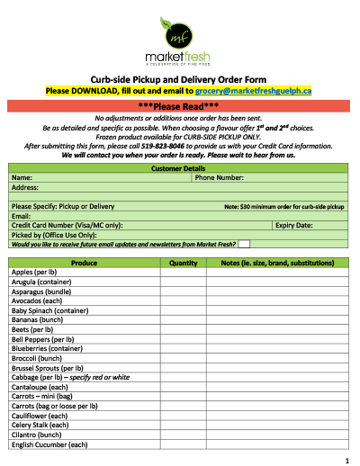 Market Fresh Order Form